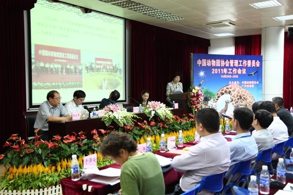 10月28-29日,中国动物园协会管理工作委员会2011年工作会议在广州动物园召开,中国动物园协会郑坤生会长、广州市林业和园林局吴敏副局长以及来自全国各地近100名动物园代表参加了本次会议。会议期间,广州市林业和园林局杨国权副局长多次对本次会议进行过问和指导。会议审议并通过了《动物园道德规范和动物福利公约》、《中国动物园协会管理工作委员会工作报告》等重要文件。北京动物园、上海动物园、广州动物园等十家动物园代表就动物园的安全管理工作进行了汇报交流。广州动物园黄志宏博士向与会代表作了《中国动物园安全现状及动物